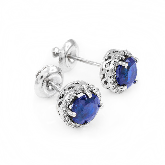 14k White Gold Diamond Blue Sapphire Earrings