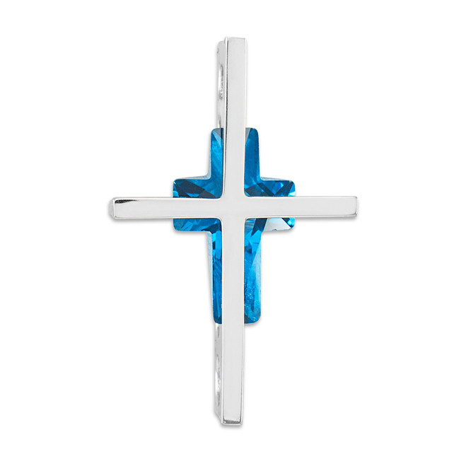 3D White Gold Cross Pendant with Gemstone