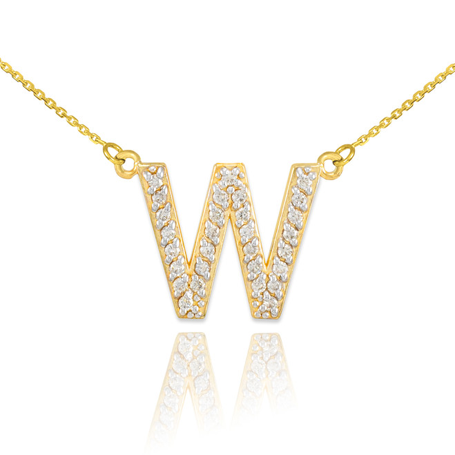 "14k Gold Letter ""W"" Diamond Initial Monogram Necklace"