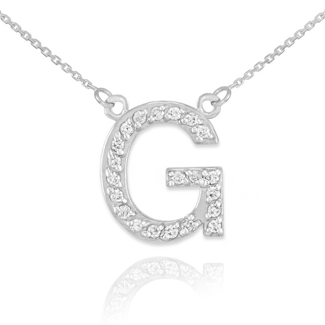 "14k White Gold Letter ""G"" Diamond Initial Necklace"
