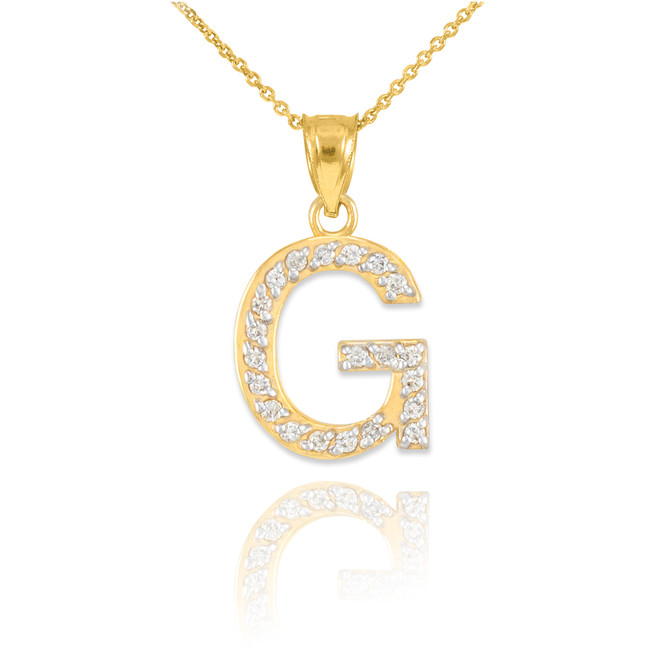 "Gold Letter ""G"" Diamond Initial Pendant Necklace"