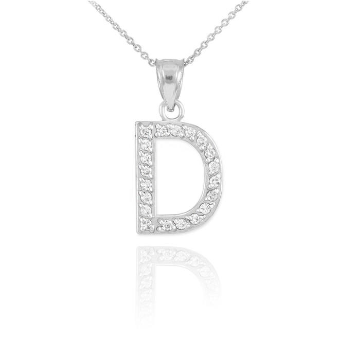 "White Gold Letter ""D"" Diamond Initial Pendant Necklace"