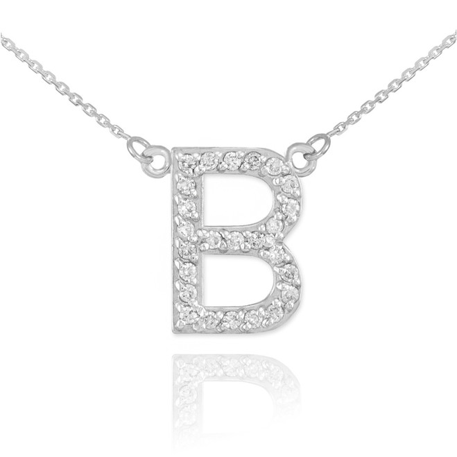 "14k White Gold Letter ""B"" Diamond Initial Necklace"