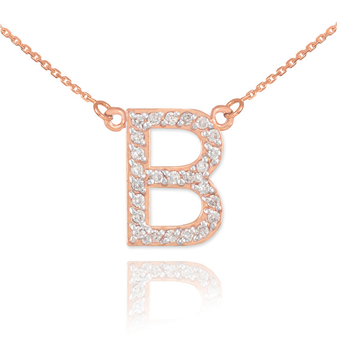 "14k Rose Gold Letter ""B"" Diamond Initial Necklace"