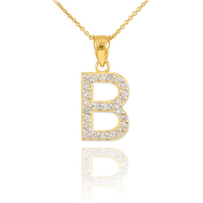"Gold Letter ""B"" Initial Diamond Pendant Necklace"