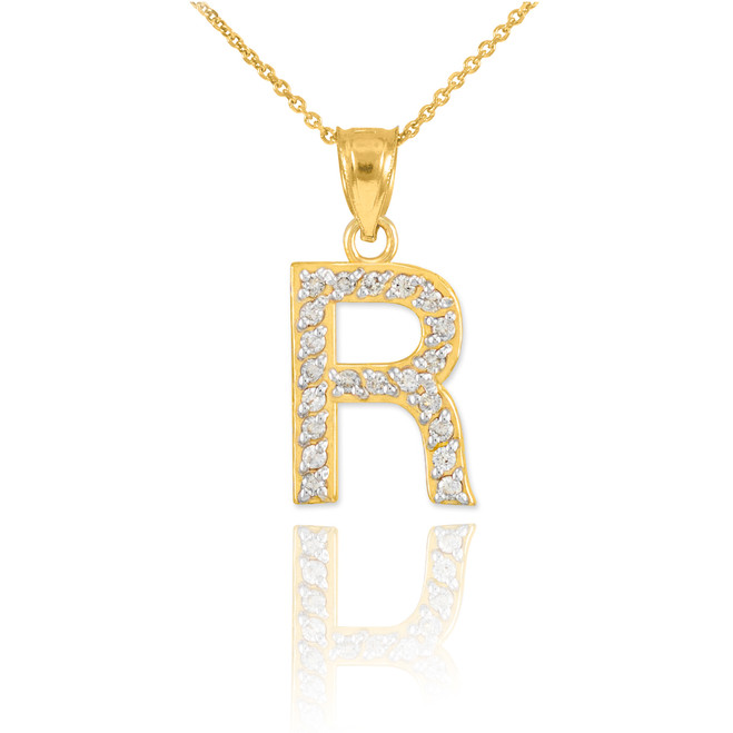 "Gold Letter ""R"" Diamond Initial Pendant Necklace"