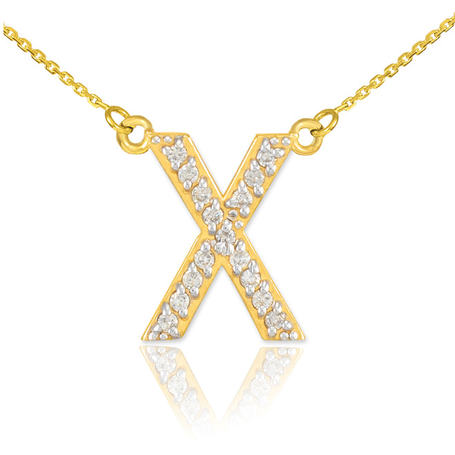 """14k Gold Letter """"X"""" Diamond Initial Necklace"""