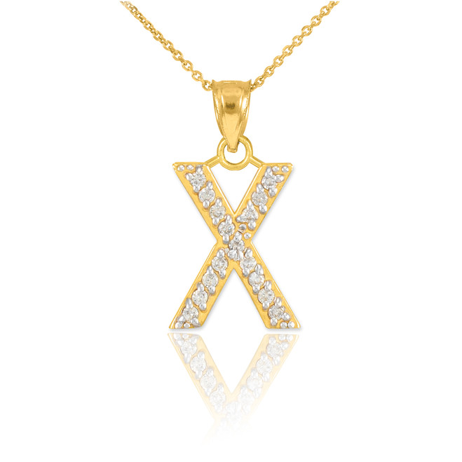 "Gold Letter ""X"" Diamond Initial Pendant Necklace"