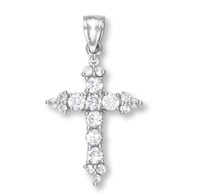White Gold Cross Pendant 2