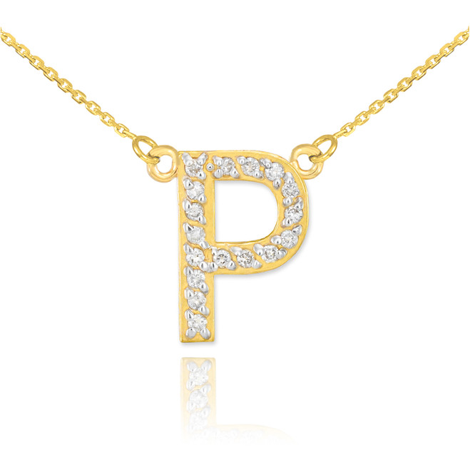 "14k Gold Letter ""P"" Diamond Initial Necklace"