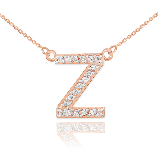 "14k Rose Gold Letter ""Z"" Diamond Initial Necklace"