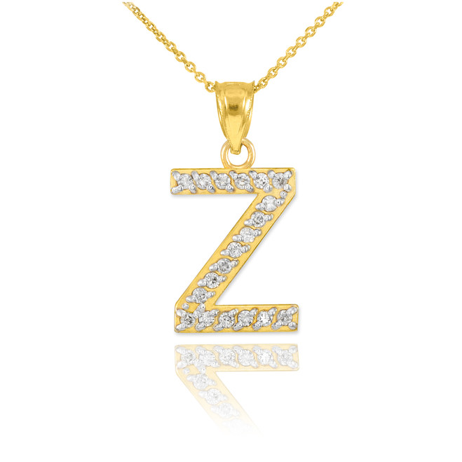 "Gold Letter ""Z"" Diamond Initial Pendant Necklace"