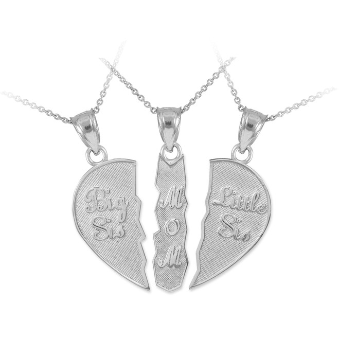 "Three Part Necklace ""Big Sis, Mom, Little Sis"" Silver Pendant"