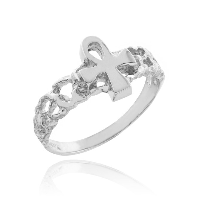 White Gold Ankh Cross Nugget Knuckle Ring