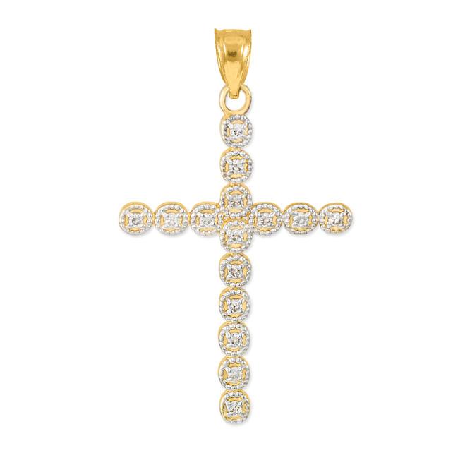 Gold Diamond Eternity Circle Cross Pendant