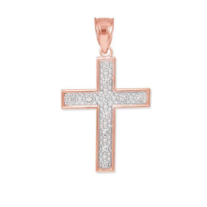 Rose Gold Diamond Cross Small Pendant