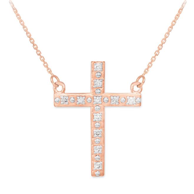 14k Rose Gold Diamond Cross Necklace