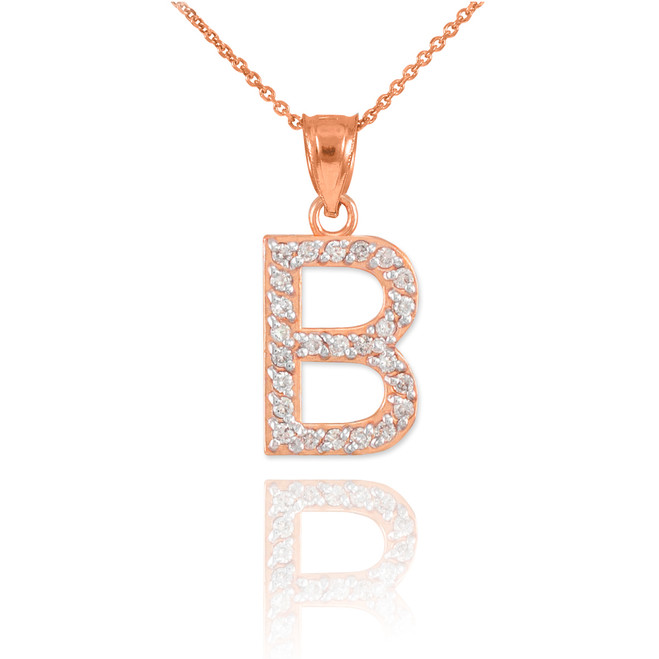 "Rose Gold Letter ""B"" Initial Diamond Pendant Necklace"