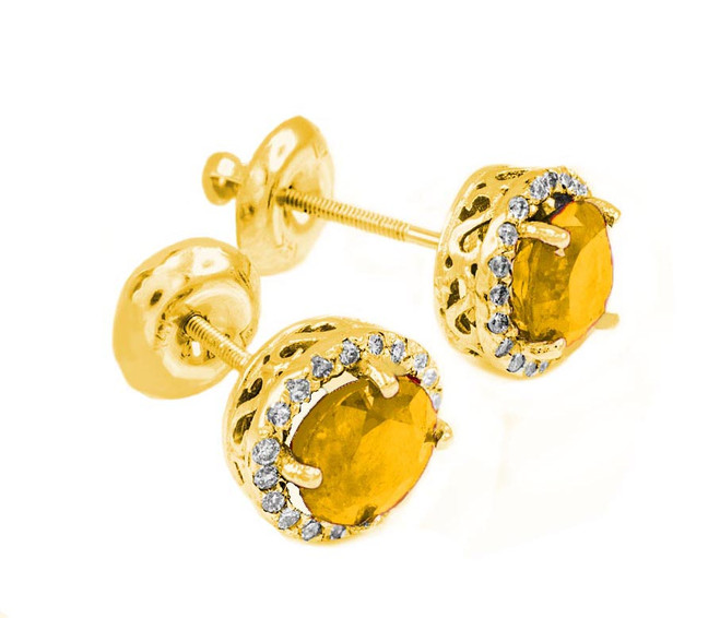 Gold Diamond Citrine Earrings