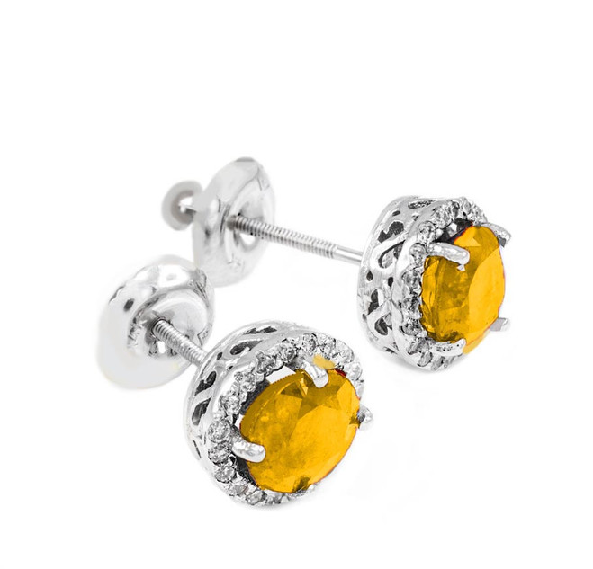 White Gold Diamond Citrine Earrings