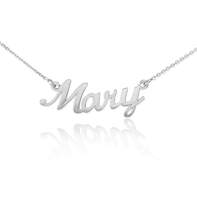 "14k Solid White Gold Name Script Necklace ""Mary"""