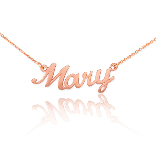"14k Solid Rose Gold Name Script Necklace ""Mary"""