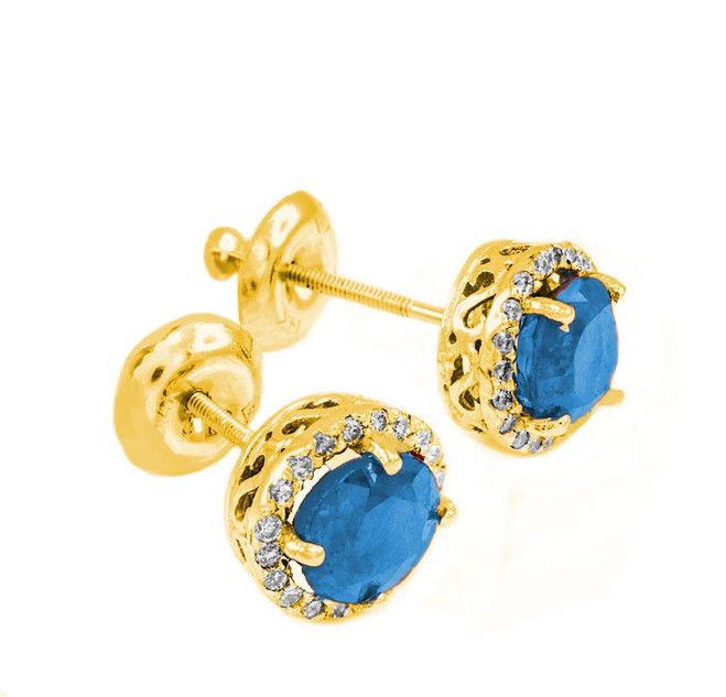Gold Diamond Blue Topaz Earrings