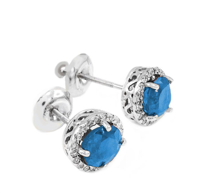 White Gold Diamond Blue Topaz Earrings