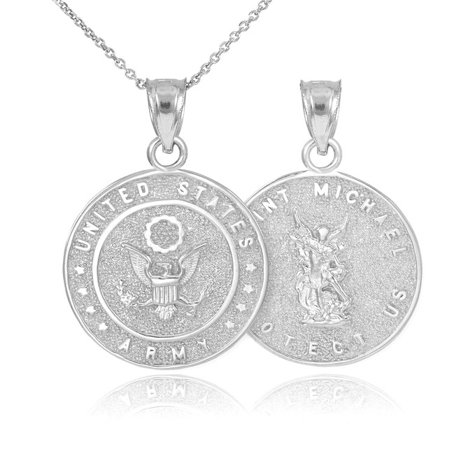 White Gold US Army Reversible St. Michael Pendant Necklace