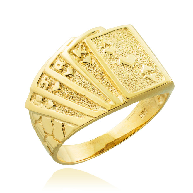 Solid Gold Royal Flush Poker Nugget Ring
