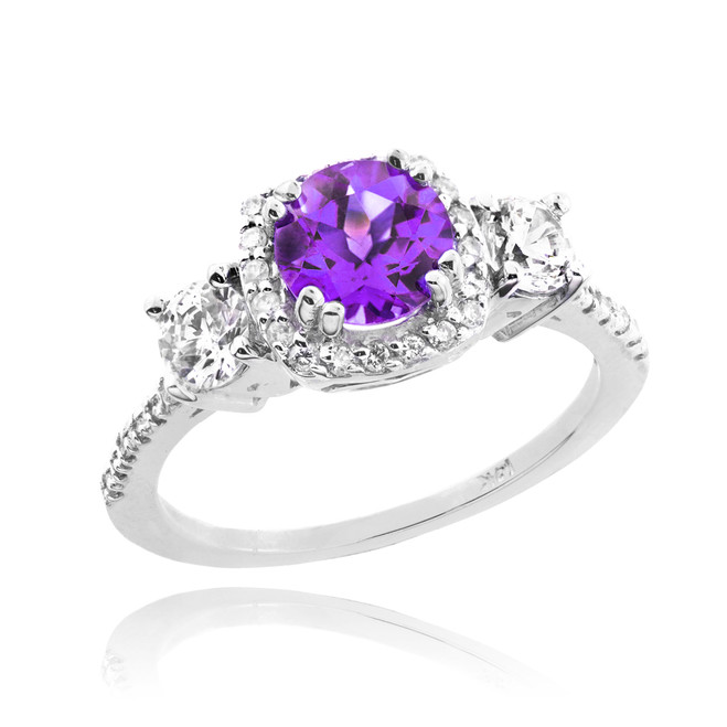 White Gold Amethyst Diamond Engagement Ring