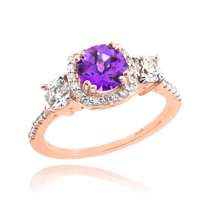 Rose Gold Amethyst Diamond Engagement Ring