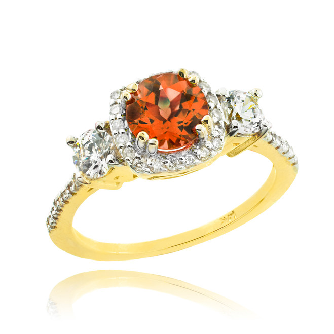 Gold Garnet Diamond Engagement Ring