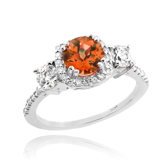 White Gold Garnet Diamond Engagement Ring