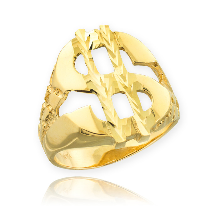 Gold Dollar Sign Nugget Ring