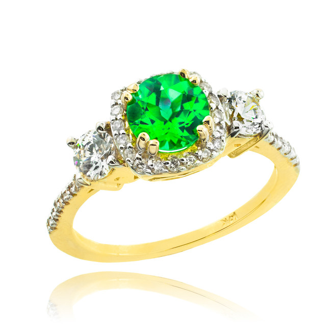 Gold Emerald Diamond Engagement Ring