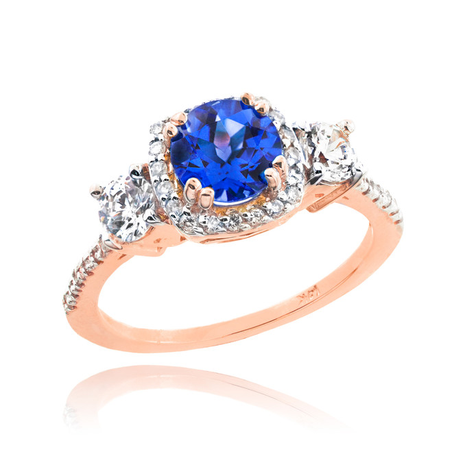 Rose Gold Sapphire Diamond Engagement Ring