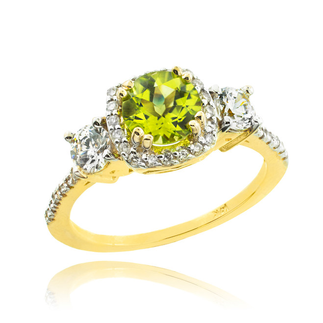Gold Peridot Diamond Engagement Ring