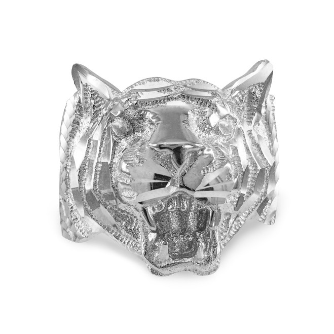White Gold Diamond Cut Tiger Ring