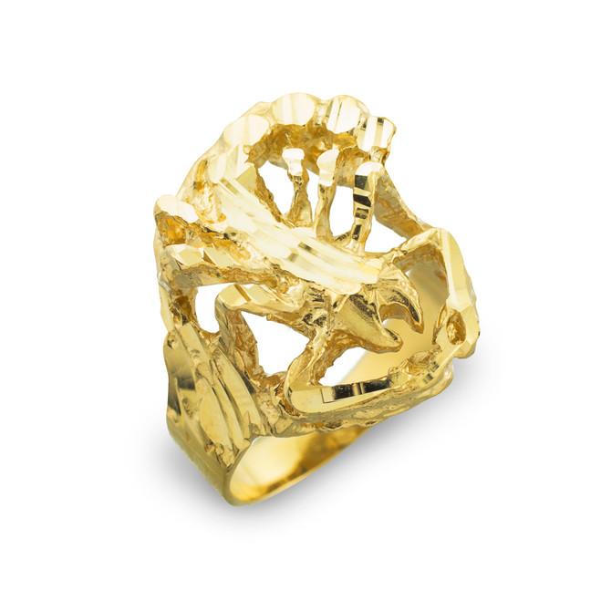 Gold Scorpion Diamond Cut Ring