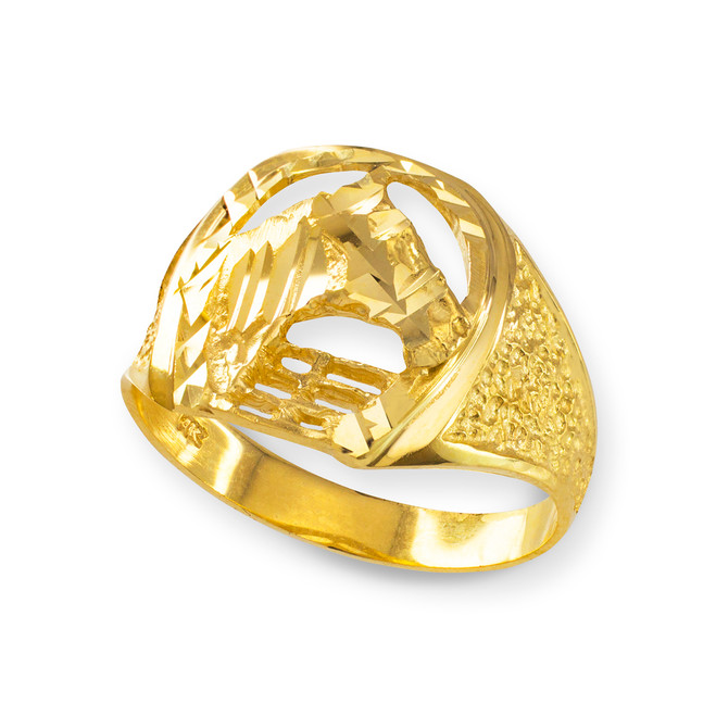 Gold Horse Head with Horseshoe Ring