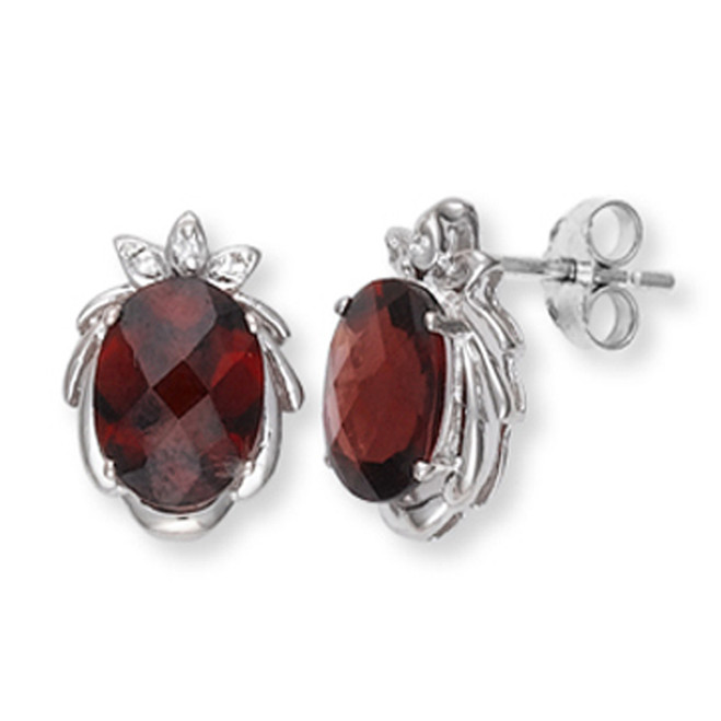 White Gold Garnet and Diamond Earrings