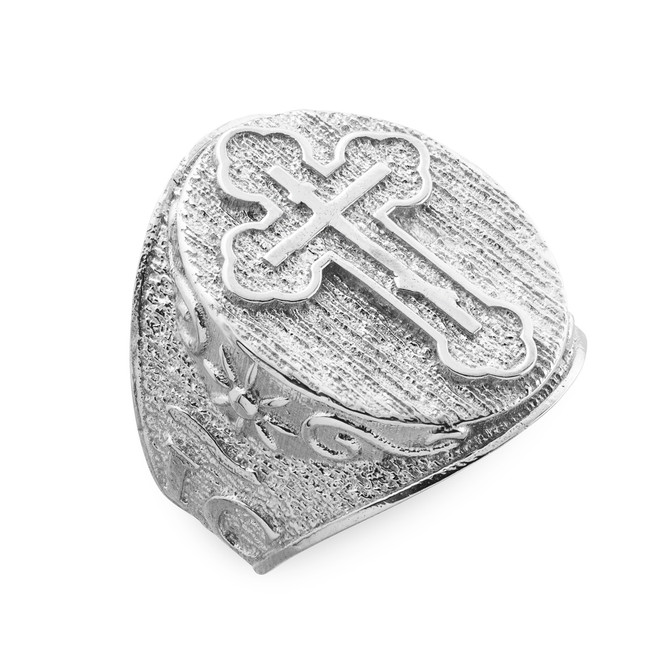 Men's Sterling Silver Eastern Orthodox Cross Ring