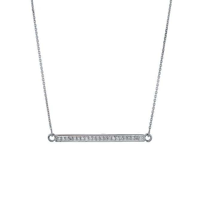 14k White Gold Diamond Bar Necklace
