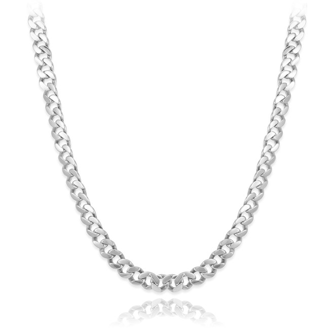 Solid White Gold Men's Cuban Link Chain 10mm