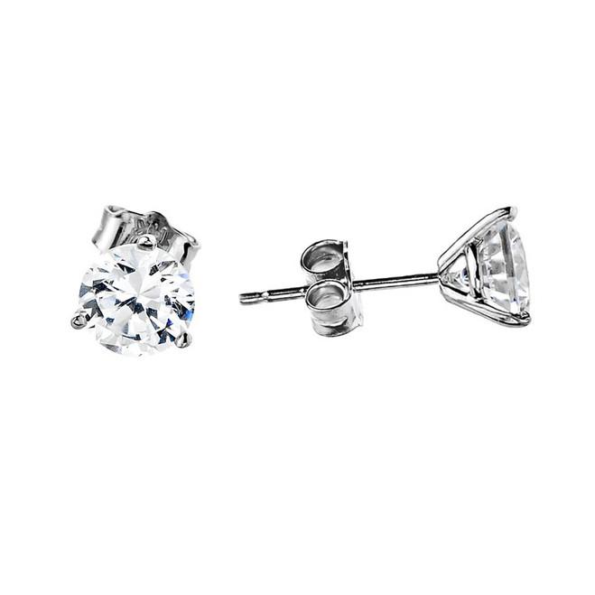 CZ Stud Earrings, Martini Stud Earrings in 14k White Gold