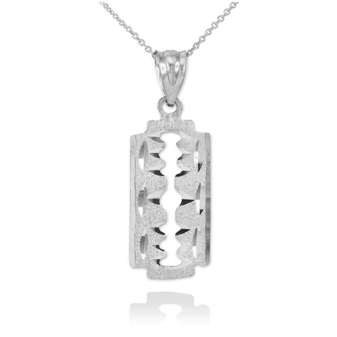 White Gold Razor Blade Pendant Necklace