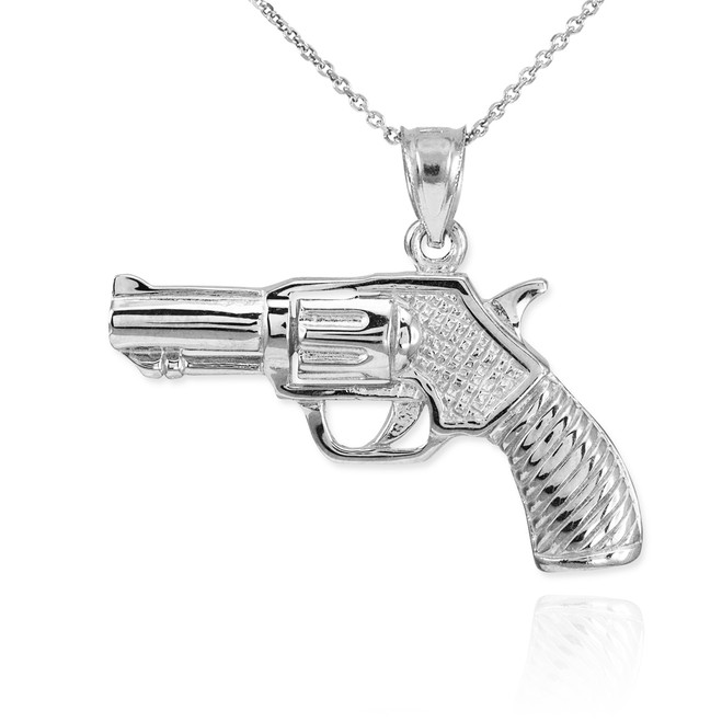 White Gold Revolver Gun Pendant Necklace