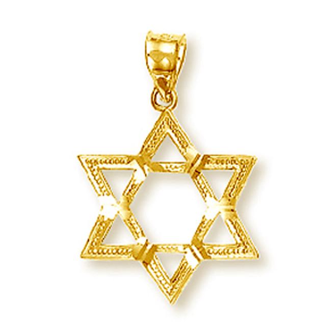 Yellow Gold Star of David Pendant