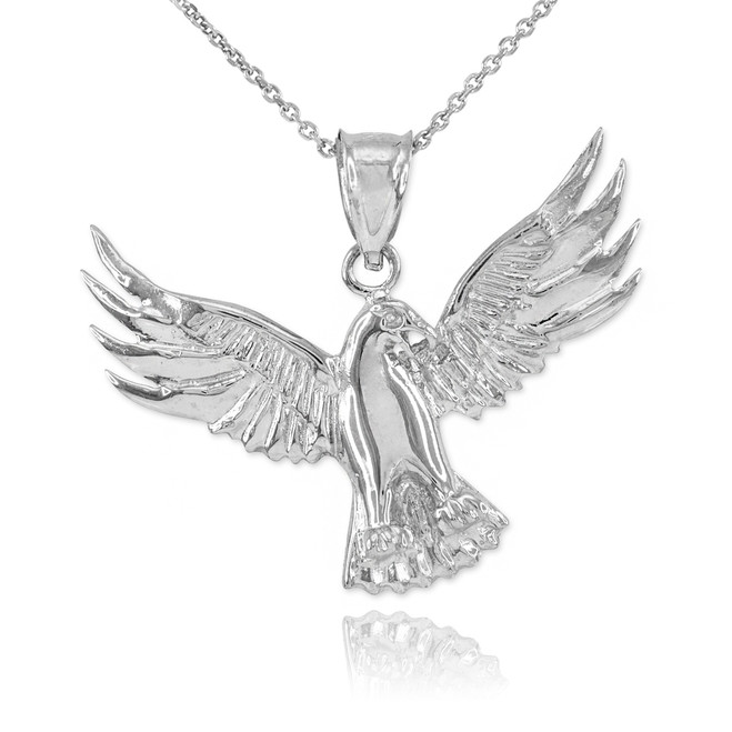 Sterling Silver Falcon Pendant Necklace